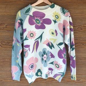 Vintage Floral Italian Wool Sweater Medium Sisley